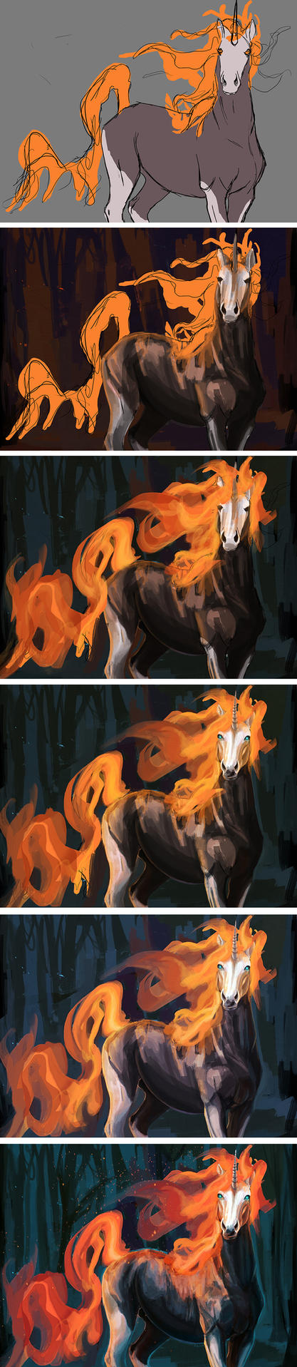 Fire Unicorn Step by Step by FleetingEmber