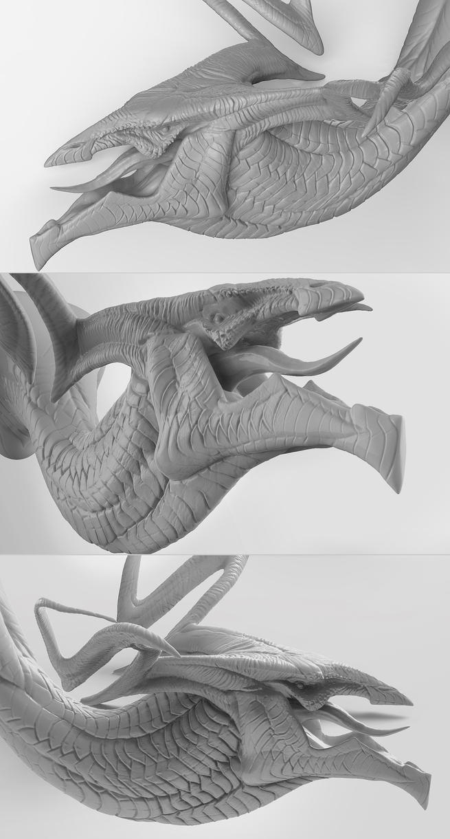 Bellowing Dragon Sculpt by ApeironDiesirae