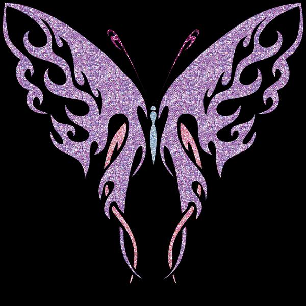 Glitter Butterfly 2 on Black by taarna-23