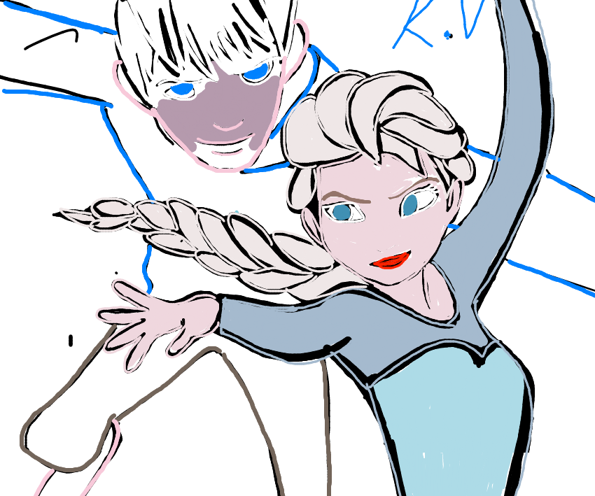 Work In progress  Elsa and Jack Sketch by katval1