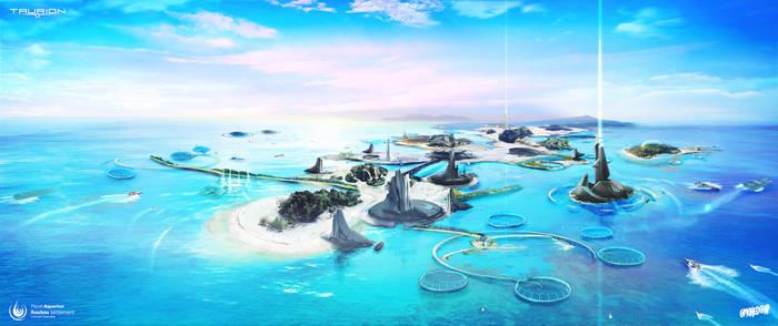 Water Planet Settlement Concept Art