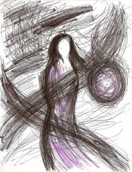 Brave Woman Walking Through Storm