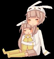 bunny cuddles by tiriii