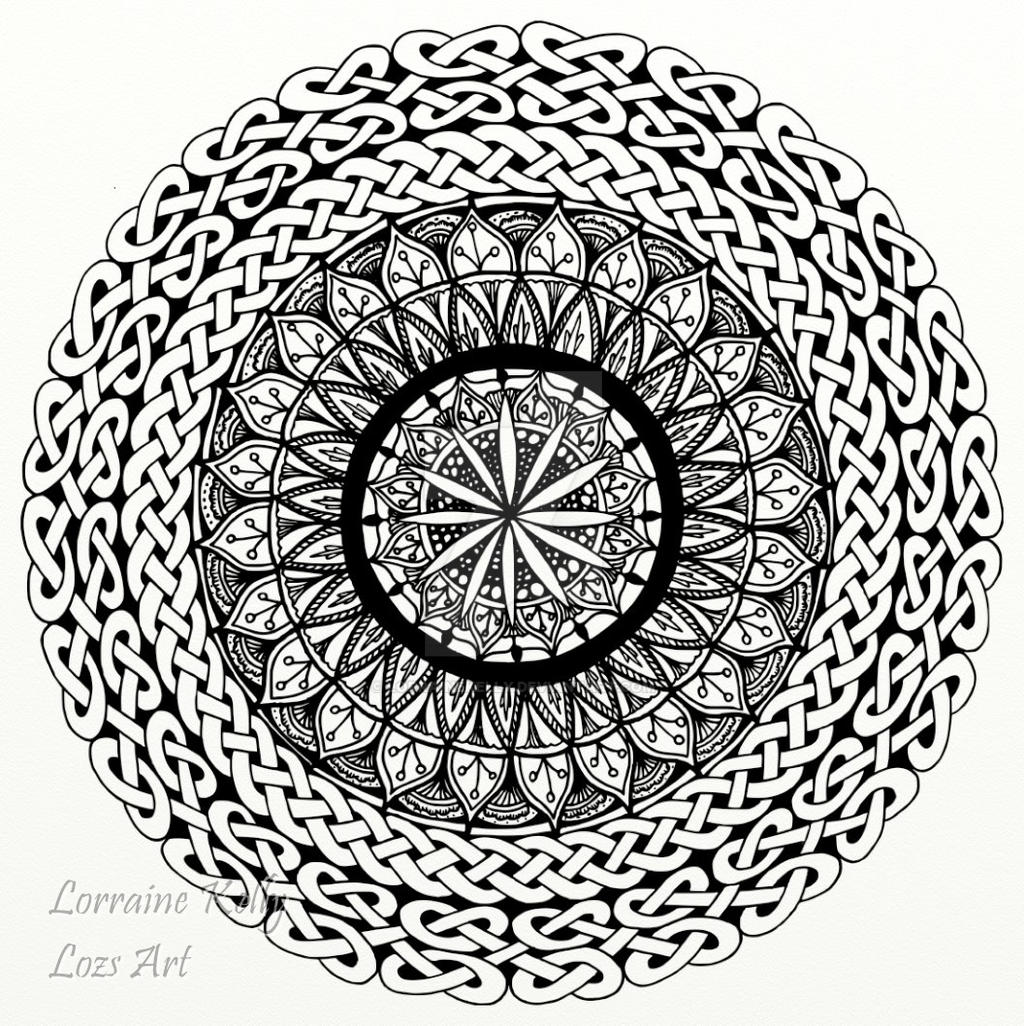 celtic knot mandala colouring page by lorrainekelly on