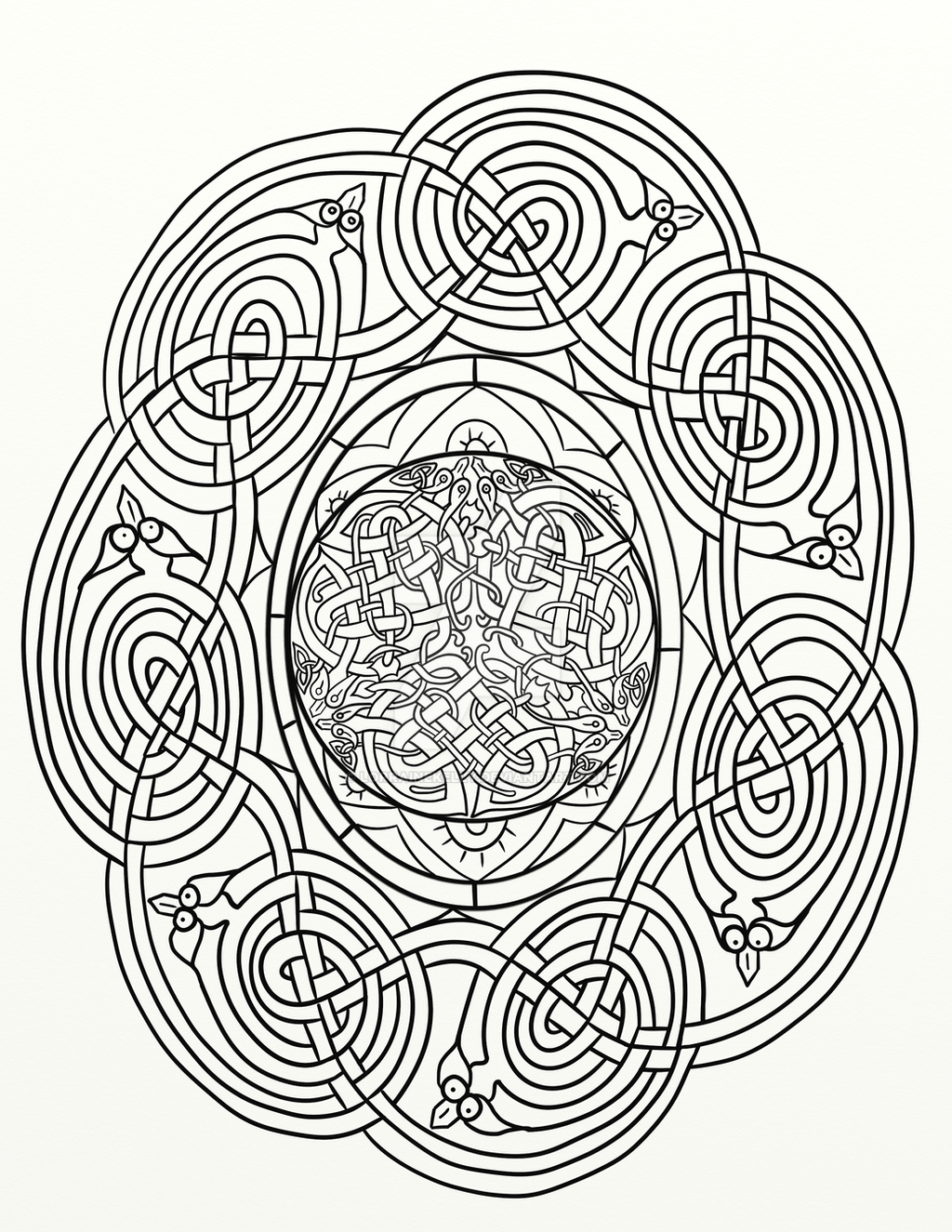traditional dragon celtic knot coloring page by lorrainekelly on