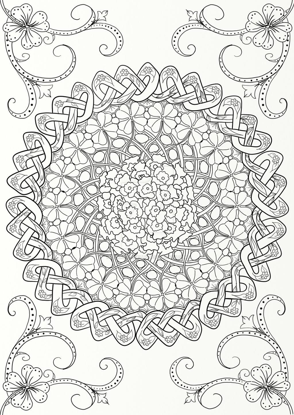Australian Native Flower Mandala With Celtic Knot By LorraineKelly