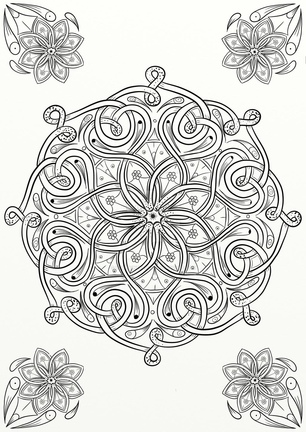 Celtic Knot Flower Design Coloring Page by LorraineKelly ...