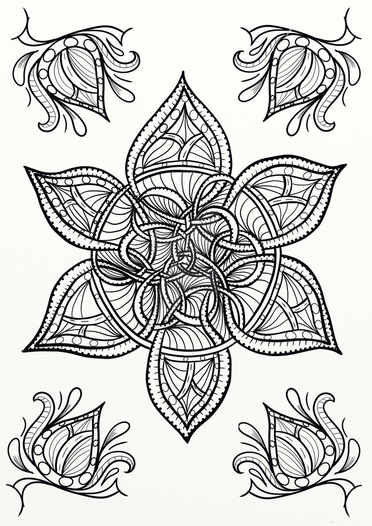 Celtic Knot Flower Coloring Page by LorraineKelly on