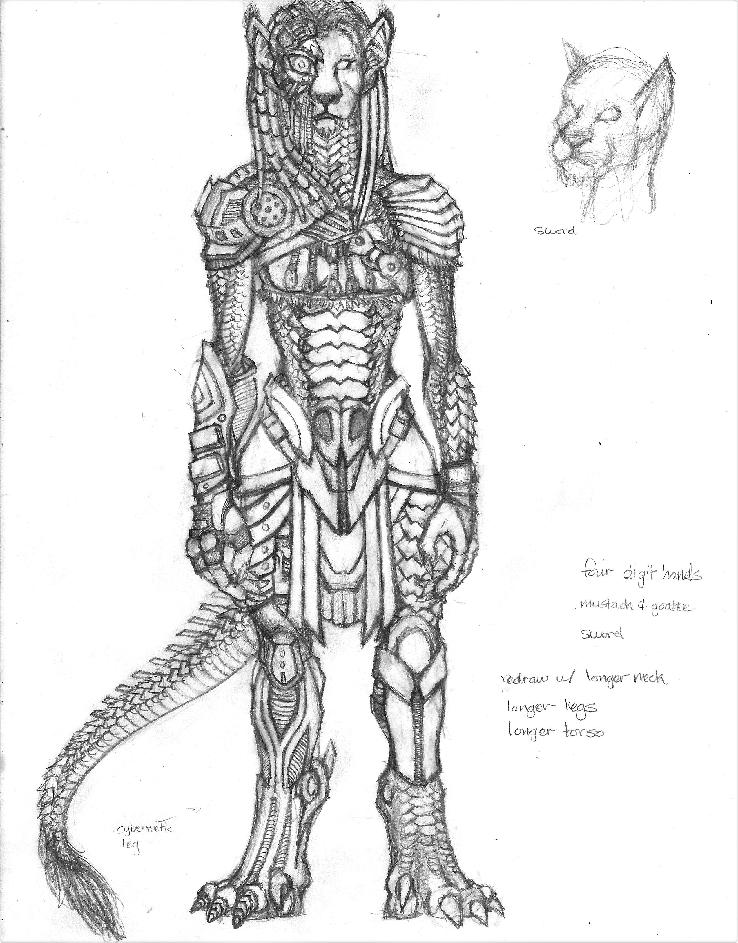 Scaled Feline Antro Cyborg in Predator-esque Armor by ebonobiwon on ...