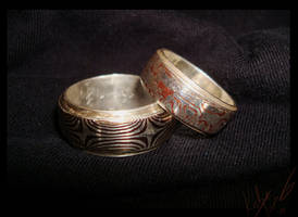 Mokume rings by bug-in-my-eye