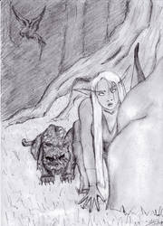 Arahja and her cat by DancingDreams