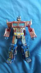 custom painted Seige voyager Optimus prime