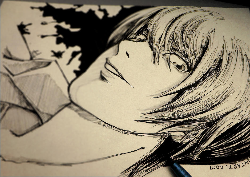 40 seconds... Yagami Light SKETCH by Iza-nagi