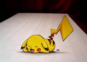 Pikachu - 3D SKETCH + COLOR by Iza-nagi