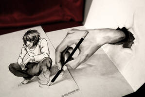 * DRAWN TO LIFE - L Lawliet 3D DRAWING - * by Iza-nagi