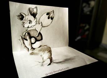 3D DRAWING - Everybody Loves a [tiny] Fennekin ^w^ by Iza-nagi