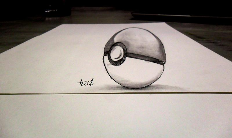 OLD 3D Sketch - Pokeball by Iza-nagi