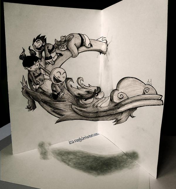 Xiaolin showdown 3d sketch by iza nagi on deviantart for Cool wall art drawings