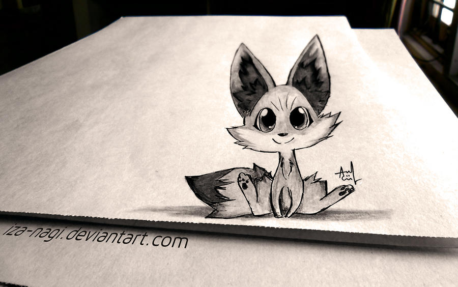 Fennekin 3d drawing on paper by iza nagi