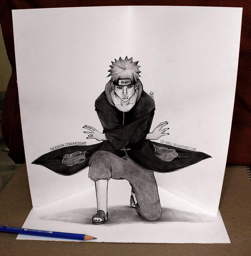 Pein 3d illusion sketch by iza nagi