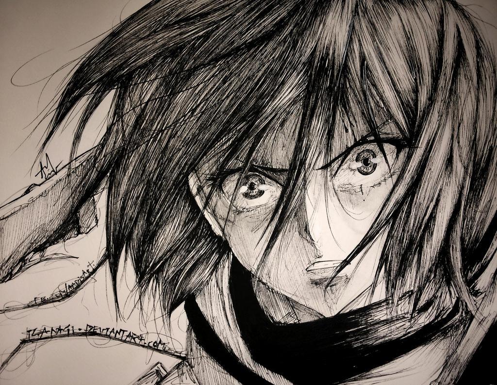 [Aventura]: Os Escolhidos - Página 5 Mikasa___multiliner_sketch_by_iza_nagi-d6r9gq4