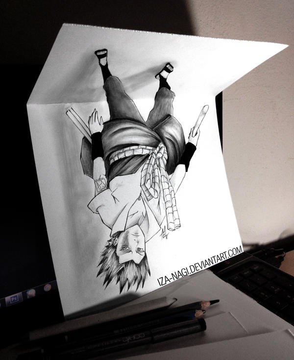 New Type Of 3d Drawing On Paper Suspended Sasuke By Iza