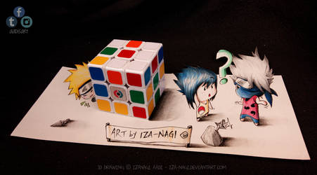 NaruSasuKaka - Hide N Seek! ^w^ - 3D DRAWING
