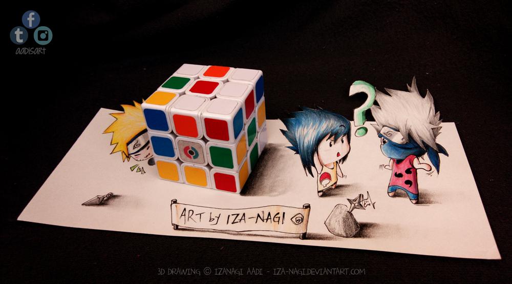 NaruSasuKaka - Hide N Seek! ^w^ - 3D DRAWING by Iza-nagi
