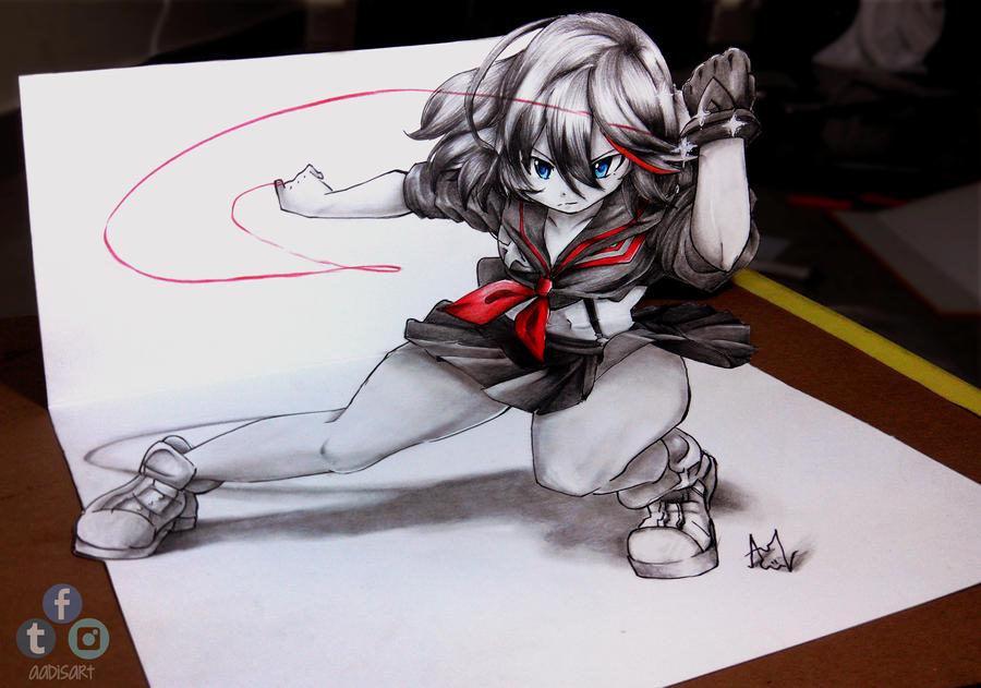 Ryuko Matoi 3D Drawing on Paper by Iza-nagi
