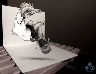 Killua 3D DRAWING ON PAPER by Iza-nagi