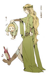 Thranduil and little Legolas by M-azuma
