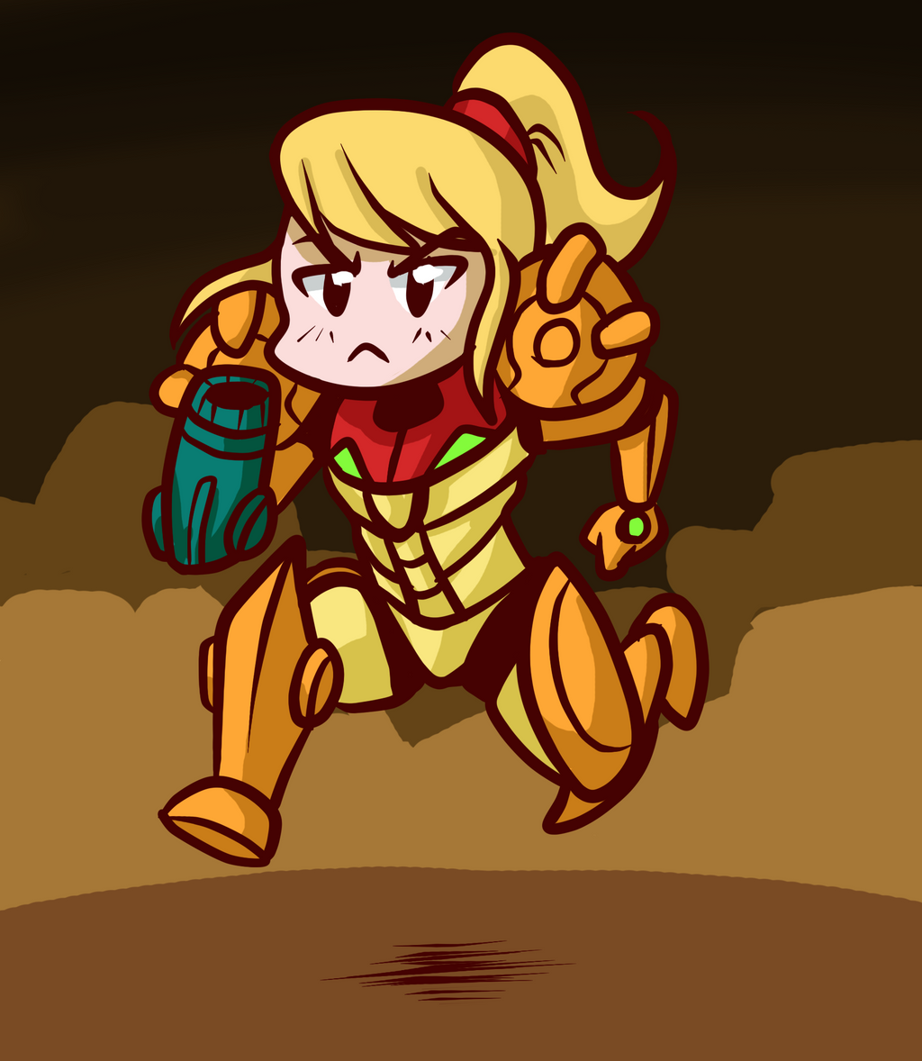 Samus on the Run by Anaugi