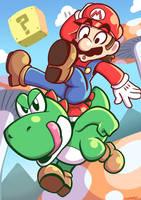 Mario And Yoshi by Anaugi