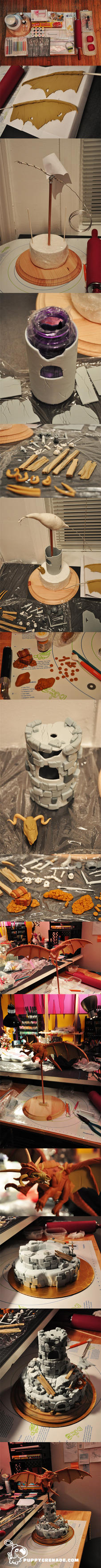 Dragon Tower Cake - Making of by Puppygrenade