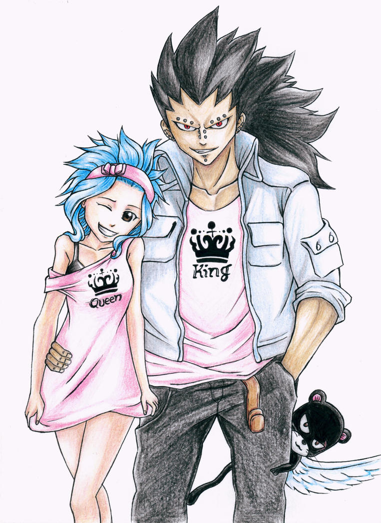 Gajeel and Levy (Fairy Tail) - King and Queen by AjkaSketch on
