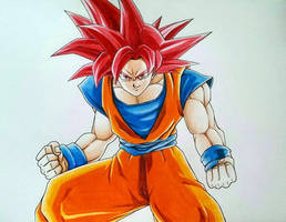 Son Goku - Super Saiyan God by AjkaSketch