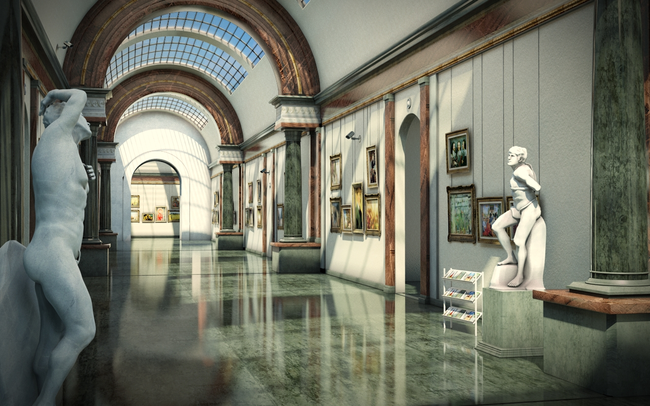French Museum Hallway Morning