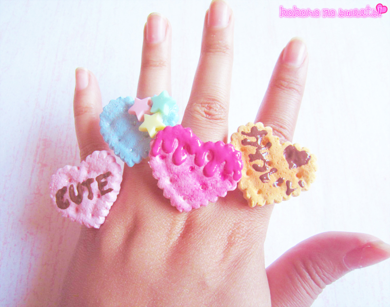 Kawaii Heart Biscuit Rings by kpossibles