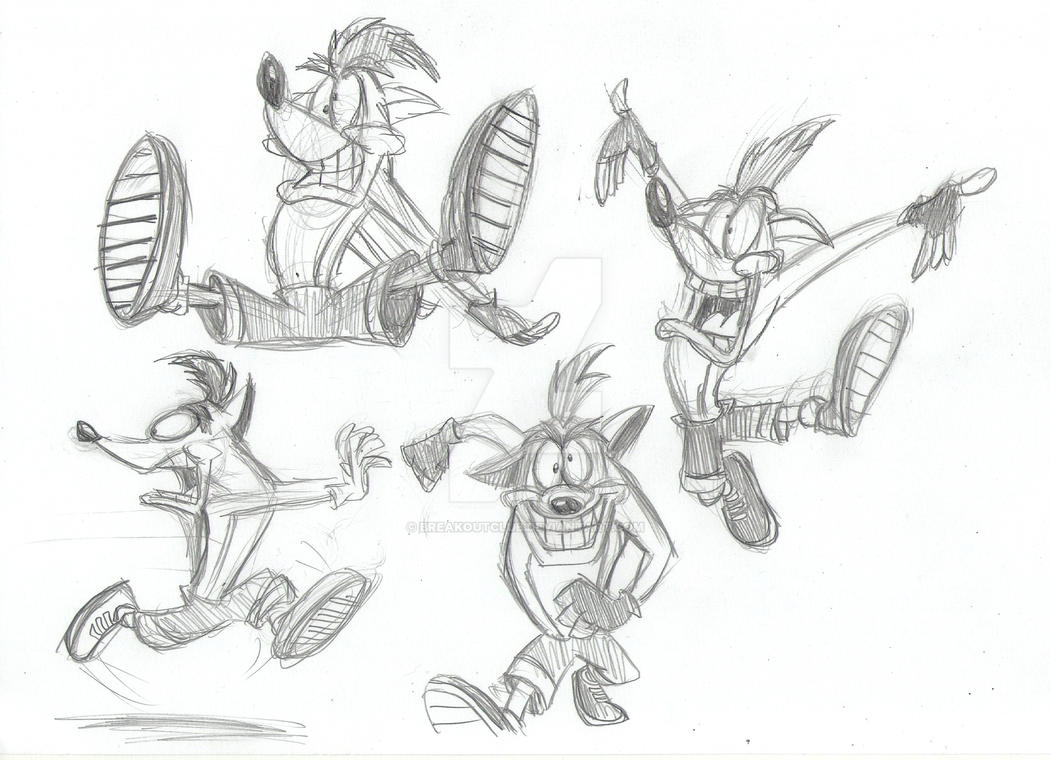 Crash Bandicoot Sketches by BreakoutKid