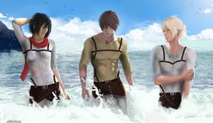 [Mikasa x Eren x Armin] at the sea..