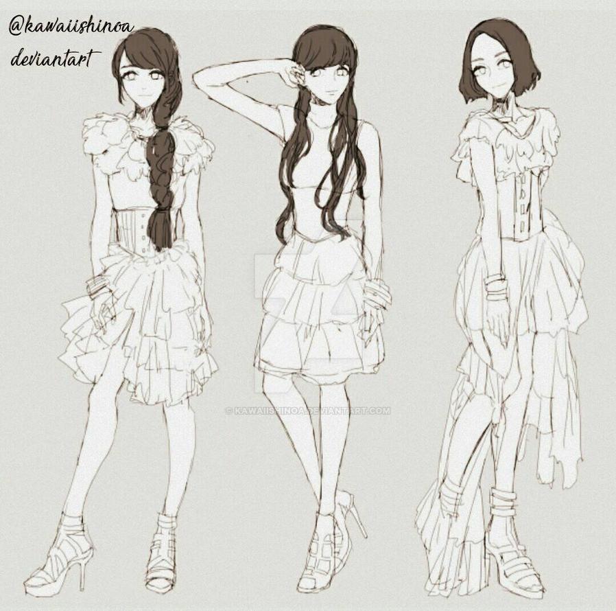 fashion anime sketch by KawaiiShinoa