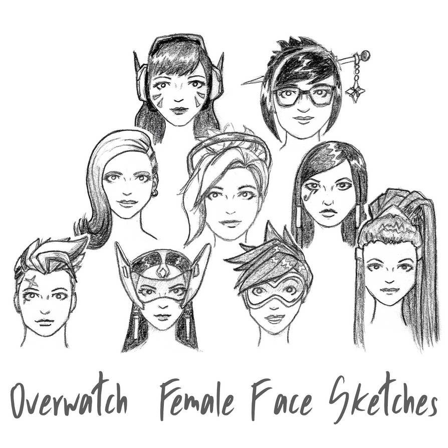 2018-07-15 Overwatch Female Faces Sketches by PixelMistArt
