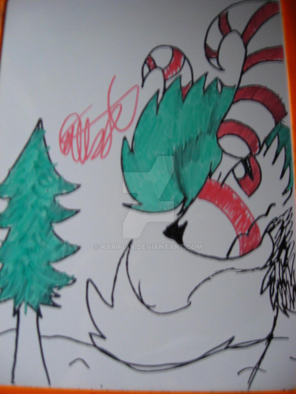 Candy Cane Wolfy by Kyrifian