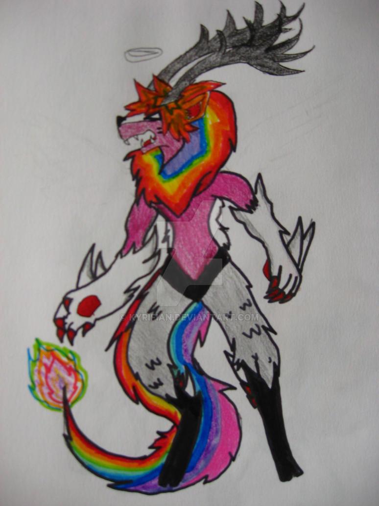 RAINBOW LION, WOLF, DEER THINGY! MEGA FORM! by Kyrifian