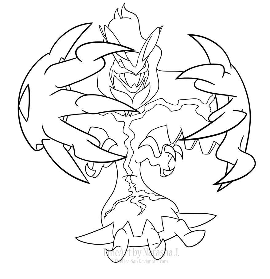 pokemon yveltal coloring pages - yveltal line art by fireflea san on deviantart