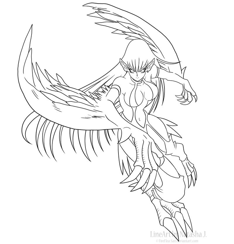 Line Drawing Lady : Harpie lady line art by fireflea san on deviantart