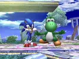 Yoshi and Sonic by The1Yoshi
