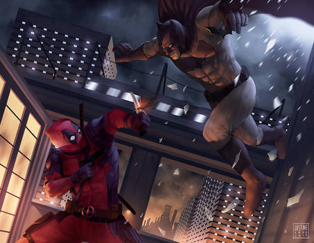 Deadpool Vs Batman Fan art