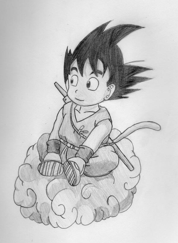 It's just a photo of Dashing Goku On Nimbus Drawing