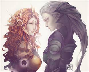 Leona and Diana by MaewenMitzuki